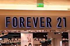Sign Forever 21. Company signboard Forever 21. stock photography