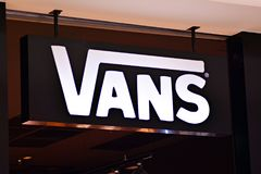 Sign Vans. Company signboard Vans. Warsaw,Poland. 16 March 2018. Sign Vans Company signboard Vans royalty free stock photo