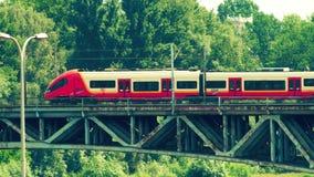 WARSAW, POLAND - MAY 31, 2018. Modern SKM Train Moving Along The Bridge Royalty Free Stock Photography