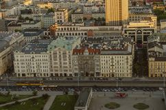 WARSAW, POLAND - MAY 22, 2018. Aerial drone view from above of c Stock Photography