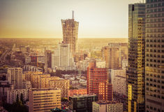 WARSAW, POLAND-MAY 25: aerial view of skyscrapers skyline of War Stock Images