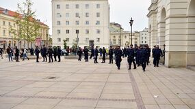 Anti-government protests on the streets of Warsaw, large branch of the Polish police. Police forces before demonstration.