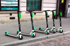 Electric scooters on streets of Warsaw, Poland stock photography
