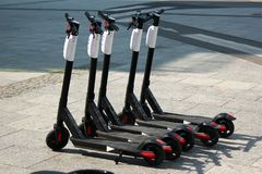 Electric scooters on streets of Warsaw, Poland stock photo