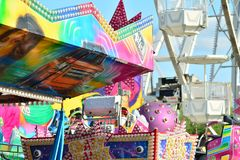 Jump ride carousel at spring festival in Warsaw, fairground with many attractions and amusement park. Warsaw Stegny. Warsaw, Poland. 21 May 2018. Jump ride royalty free stock photo