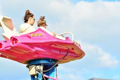 Jump ride carousel at spring festival in Warsaw, fairground with many attractions and amusement park. Warsaw Stegny. Warsaw, Poland. 21 May 2018. Jump ride stock photo