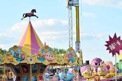 Jump ride carousel at spring festival in Warsaw, fairground with many attractions and amusement park. Warsaw Stegny. Warsaw, Poland. 21 May 2018. Jump ride royalty free stock images