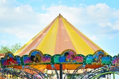 Jump ride carousel at spring festival in Warsaw, fairground with many attractions and amusement park. Warsaw Stegny. Warsaw, Poland. 21 May 2018. Jump ride royalty free stock image