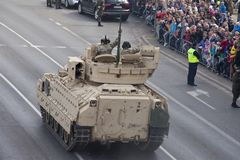 Military vehicles on army parade on May 3, 2019 in Warsaw, Poland stock images