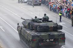 Military vehicles on army parade on May 3, 2019 in Warsaw, Poland stock photography