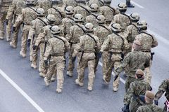 Polish soldiers marching on army parade on May 3, 2019 in Warsaw, Poland stock photography
