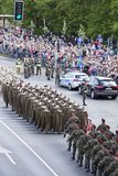 Polish soldiers marching on army parade on May 3, 2019 in Warsaw, Poland stock image