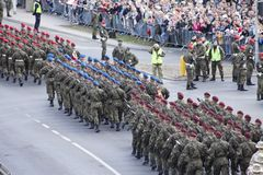 Polish soldiers marching on army parade on May 3, 2019 in Warsaw, Poland stock photos