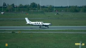 WARSAW, POLAND - MAY, 18, 2017. Telephoto lens pan shot of Piper PA-46-500TP light propeller airplane takeoff Stock Photography