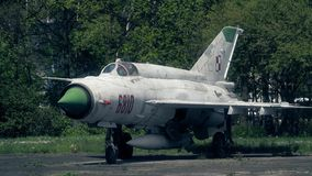 WARSAW, POLAND - MAY, 13, 2017. Telephoto lens shot of old Polish Mig-21 fighter, NATO reporting name Fishbed. The most. WARSAW, POLAND - MAY, 13, 2017 stock images