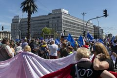 March of Freedom in Warsaw on May 12, 2018. WARSAW, POLAND - MAY 12, 2018: Thousands of Poles marched in Warsaw in March of Freedom to demand respect for country Stock Image