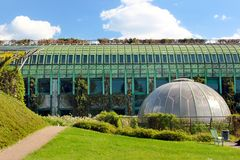 The University of Warsaw Library Rooftop Garden in Warsaw, Poland. Warsaw, Poland - May 1, 2019: The University of Warsaw Library Rooftop Garden, designed by the stock images
