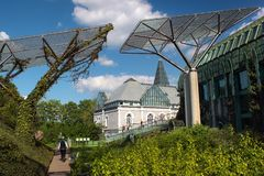 The University of Warsaw Library Rooftop Garden in Warsaw, Poland. Warsaw, Poland - May 1, 2019: The University of Warsaw Library Rooftop Garden, designed by the stock photo