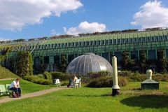 The University of Warsaw Library Rooftop Garden in Warsaw, Poland. Warsaw, Poland - May 1, 2019: The University of Warsaw Library Rooftop Garden, designed by the stock image