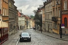 WARSAW, POLAND - MAY 12, 2012: View of the historic buildings in old part royalty free stock photography