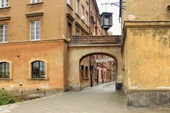 WARSAW, POLAND - MAY 12, 2012: View of the historical buildings in old part of Warsaw royalty free stock photo