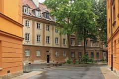 WARSAW, POLAND - MAY 12, 2012: View of the historical buildings in old part of Warsaw royalty free stock photography