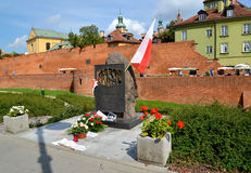 WARSAW, POLAND. Memorable sign `Memories of Officers of Army Polish, Died Later September 17, 1939` Royalty Free Stock Photography