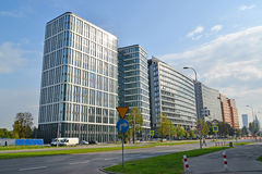 WARSAW, POLAND. Modern office buildings on the street the Jerusalem avenues. WARSAW, POLAND - AUGUST 23, 2014: Modern office buildings on the street the Royalty Free Stock Photo