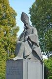 WARSAW, POLAND. Monument to the cardinal Stefan Vyshinsky, close up Stock Image