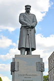 WARSAW, POLAND. A monument to the marshal Jozef Pilsudsky against the background of the skyn Royalty Free Stock Photography