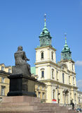 WARSAW, POLAND. Monument to Nicolaus Copernicus and church of the Sacred Cross Royalty Free Stock Photos
