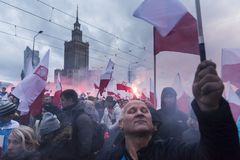 The annual march of Poland`s National Independence Day 2017. WARSAW, POLAND - NOVEMBER 11, 2017: The annual march of Poland`s National Independence Day  which Royalty Free Stock Images