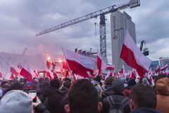 The annual march of Poland`s National Independence Day 2017. WARSAW, POLAND - NOVEMBER 11, 2017: The annual march of Poland`s National Independence Day  which Royalty Free Stock Photos