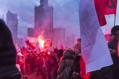 The annual march of Poland`s National Independence Day 2017. WARSAW, POLAND - NOVEMBER 11, 2017: The annual march of Poland`s National Independence Day  which Stock Images