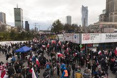 The annual march of Poland`s National Independence Day 2017. WARSAW, POLAND - NOVEMBER 11, 2017: Gathering people for the annual march of Poland`s National Royalty Free Stock Image