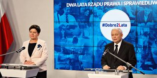 Leader of ruling party Law and Justice, Kaczynski, right, and Polish Prime Minister Szydlo attend a press conference summarizing t Royalty Free Stock Photos