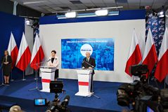 Leader of ruling party Law and Justice, Kaczynski, right, and Polish Prime Minister Szydlo attend a press conference summarizing t Stock Image