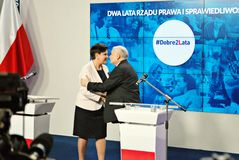 Leader of ruling party Law and Justice, Kaczynski, right, and Polish Prime Minister Szydlo attend a press conference summarizing t Royalty Free Stock Images
