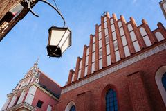 Warsaw old town. Warsaw, Poland - Oct 1, 2018: Warsaw old town. St. John`s Archcathedral and Shrine of Our Lady of Grace the Patron of Warsaw royalty free stock photos