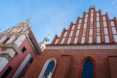 Warsaw old town. Warsaw, Poland - Oct 1, 2018: Warsaw old town. St. John`s Archcathedral and Shrine of Our Lady of Grace the Patron of Warsaw royalty free stock photography