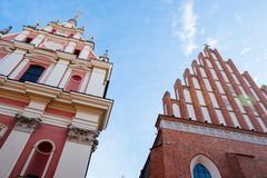 Warsaw old town. Warsaw, Poland - Oct 1, 2018: Warsaw old town. St. John`s Archcathedral and Shrine of Our Lady of Grace the Patron of Warsaw stock images
