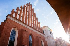 Warsaw old town. Warsaw, Poland - Oct 1, 2018: Warsaw old town. St. John`s Archcathedral and Shrine of Our Lady of Grace the Patron of Warsaw stock photo