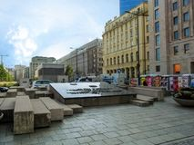 Warsaw Insurgents` Monument in Powstancow Warszawy Square by author Andrzej Domanski. Warsaw, Poland - October 9, 2018: Warsaw Insurgents` Monument in Powstancow stock images
