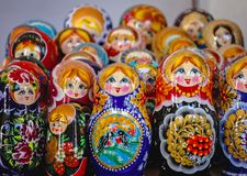 Traditional Matryoshka dolls. Warsaw, Poland - October 29, 2005: Matryoshka dolls for sale on the Old Town in Warsaw city Stock Photos