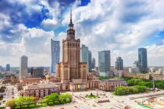 Warsaw, Poland. Palace of Culture and Science, downtown. Warsaw, Poland. Aerial view Palace of Culture and Science and downtown business skyscrapers, city Royalty Free Stock Photography