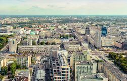 Warsaw / Poland - 09.15.2015: Panoramic view at the city center house buildings and streets. stock image