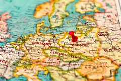 Warsaw, Poland pinned on vintage map of Europe.  stock photos
