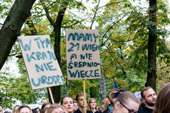 Warsaw, Poland, 2016 10 01 - protest against anti-abortion law f. Orced by Polish government; people with banner saying: in this country I do not give birth, We royalty free stock photography