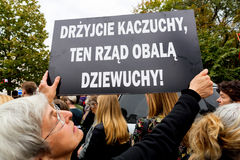 Warsaw, Poland, 2016 10 01 - protest against anti-abortion law f. Orced by Polish government; people with banner saying: quail Kaczyński, this government stock photos