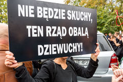 Warsaw, Poland, 2016 10 01 - protest against anti-abortion law f. Orced by Polish government; woman with banner saying: there will be no miss, this government stock photo